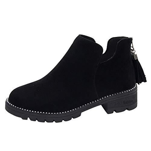 Minikimi Dameslaarzen, franjes, met blokhak, Ankle Boots Retro Warme korte laarzen suède boots met ritssluiting laarzen herfst winter