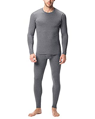 LAPASA Men's Lightweight Thermal Underwear Long John Set Fleece Lined Base Layer Top and Bottom M11 (X-Large, Dark Grey)