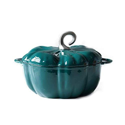 RYYAIYL Cast Iron Casserole Dish Pumpkin Shape Thickened Binaural Non-Stick Pan Induction Cooker Universal Enamel Pot 24cm (Color : Dark Green)