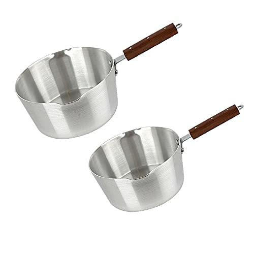 Olla de aluminio con doble boquilla para la leche – cafetera – olla para curry – sartén de gachas – olla – olla – resistente – mango largo de madera – ollas y sartenes de 15 cm y 20 cm, 17 cm y 22 cm