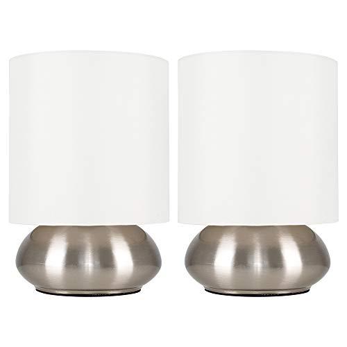 Set di 2 – Lampada rotonda da tavolo con funzione touch, finitura cromata spazzolata e paralume crema di tessuto