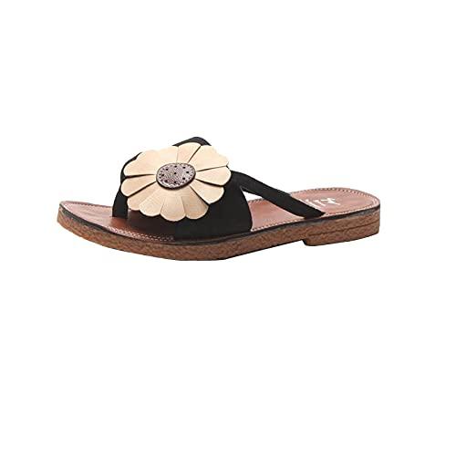 YOUQQI Pantoffeln Damen Sandalen Bequeme Plattform Pantoletten Zehentrenner Hausschuhe Sommer Casual Strand Reise Schuhe Flach Flip Flops Peep Toe Schlappen