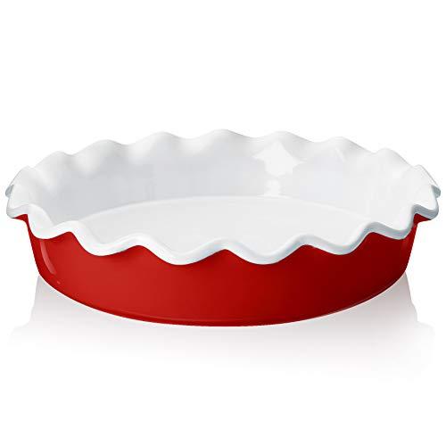 Teocera Porzellan-Pie-Pfanne zum Backen, Kuchenform, runde Tortenplatte mit gerüschtem Rand, 26,7 cm für Apfelkuchen, Topfkuchen - 1 Stück, rot