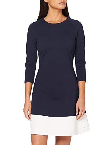 Tommy Hilfiger Damen WW0WW20593 Kleid, Blau (Peacoat/Snow White 901), 36 (Herstellergröße: S)