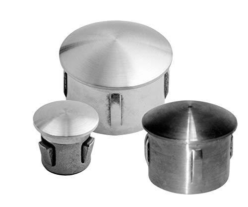 flexible Kappe für Rundrohre mit unterschiedlichen Wandstärken - Rohrstopfen gewölbt aus Edelstahl und Stahl roh (verzinkungsfähig) (Stahl roh-verzinkungsfähig, Rohr Ø 33,7)