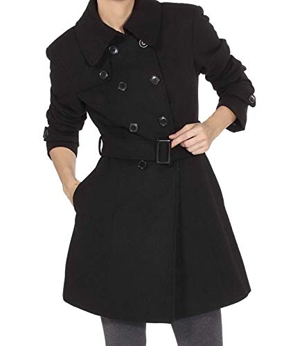 Alpine Swiss Keira Womens Black Wool Double Breasted Belted Trench Coat 2XL