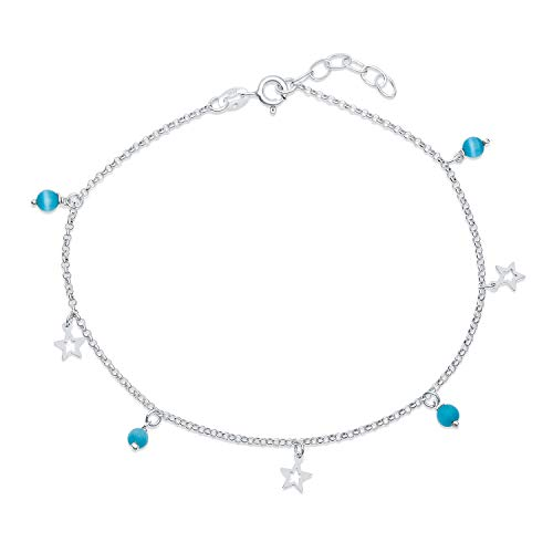 Dangle Open Star Multi Charm Aqua Blue Cats Eye Bead Anklet For Teen Ankle Bracelet For Women 925 Sterling Silver Adjustable