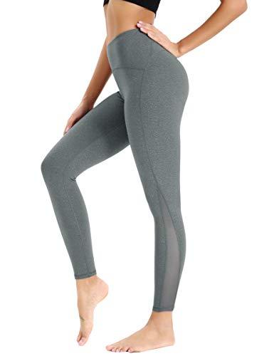 HAPYWER Damen Laufhose Sporthose Mit Mesh/Taschen Lang Hohe Taile Sport Leggings Strech Yoga Tights Hose (M, Silber-Grau)