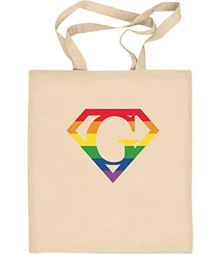 LGBT Supergay Logo Gay Pride Jutebeutel Baumwolltasche One Size Natur