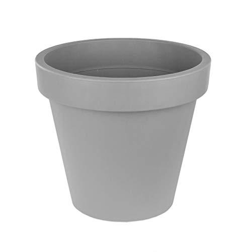 Blumentopf 58 cm aus Kunststoff - Grau - Pflanztopf Containertopf Übertopf Pflanzkübel rund - Drainage-Möglichkeit