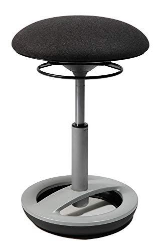 Topstar Sitness Bob, ergonomischer Sitzhocker, Arbeitshocker, Bürohocker mit Schwingeffekt, Sitzhöhenverstellung, Standfußring Alu Silber grau, Stoffbezug, anthrazit
