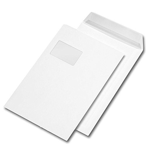 1.000 Versandtaschen C4 229 x 324 mm, haftklebend, mit Fenster, 90g/qm (1.000er Packung, weiß | haftklebend | mit Fenster)