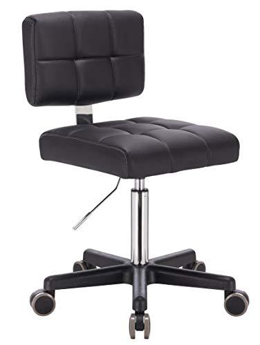 1stuff® Rollhocker LEHNO mit Rückenlehne - Sitzhöhe bis ca. 67cm - bis 150kg - Drehhocker Praxishocker Arbeitshocker Arzthocker Kosmetikhocker Bürohocker Bürostuhl (schwarz)