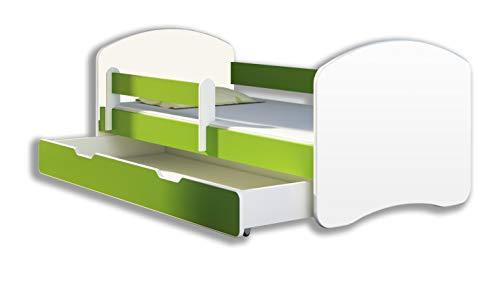Kinderbett Jugendbett mit einer Schublade und Matratze Weiß ACMA II (180x80 cm + Schublade, Grün)