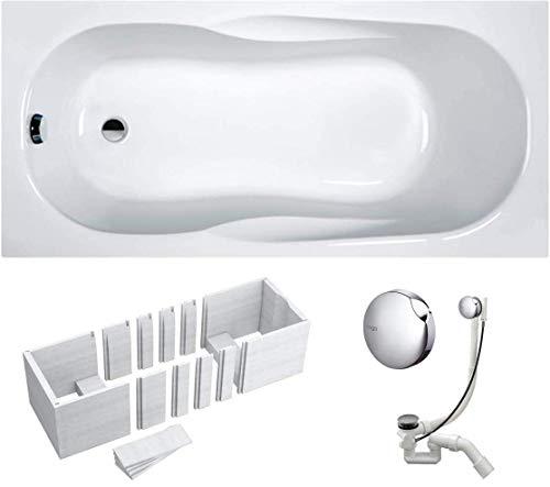 VBChome Badewanne 170 x 70 x 41 cm Acryl SET Wannenträger Siphon Wanne Rechteck Weiß Design Modern Styroporträger Ablaufgarnitur in Chrom Viega Simplex (170x70x41 cm)