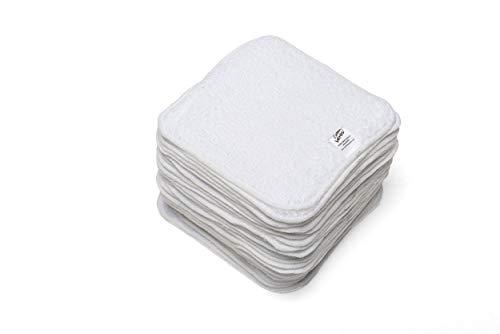 Cheeky Wipes - Toallitas para bebés algodón blancas de a Reutilizables y lavables, pack de 25