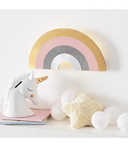 Kinderzimmer Nachtlicht Wandlampe LED Nachtleuchte Schlummerlicht Regenbogen Timer Fernbedienung Holz Batteriebetrieben