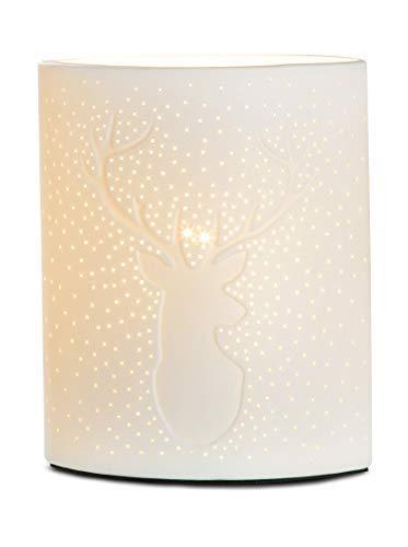 GILDE Lampe Hirsch - aus Porzellan mit Lochmuster im Prickellook H 20 cm
