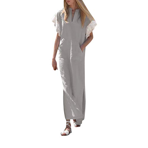 Great Deal! Kariwell Long Dress, Women Lace Short Sleeve V Neck Side Slit Casual Loose Cotton Tunic ...