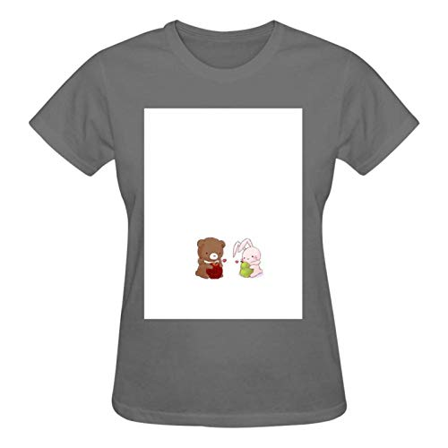 Printed Lovely Bear with Apple and Rabbit with Pear T Shirts for Women, Crew Neck Short Sleeve Cotton Tshirts for Womens Teens Girls Tees