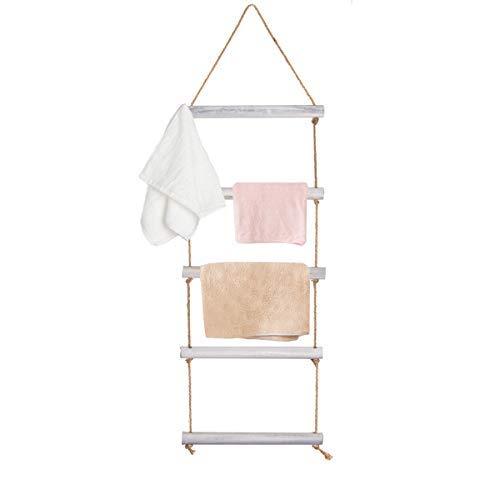 Honest - Toallero de 4 pies con cuerda, escalera para colgar en la pared con 5 peldaños, escalera decorativa de madera rústica, toallero para baño blanqueado