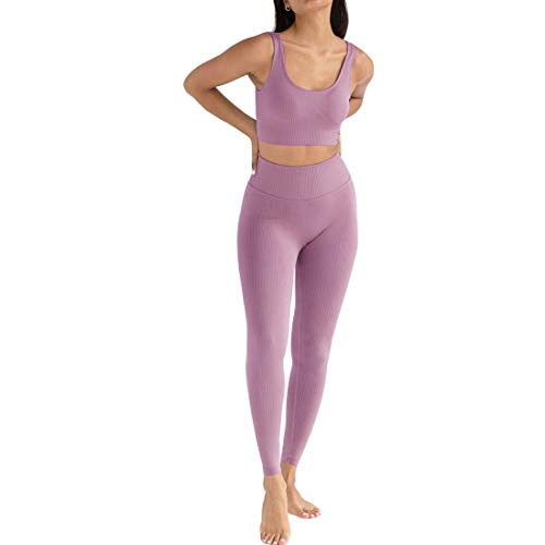 Jetjoy Exercise Outfits for Women 2 Pieces Ribbed Seamless Yoga Outfits Sports