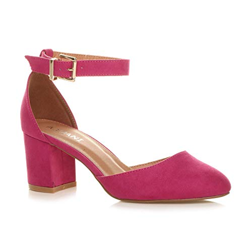 Womens Ladies Low mid Block Heel Ankle Strap Court Shoes Sandals, Fuchsia Suede, 6 UK