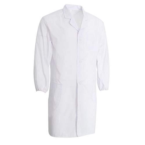 Laborkittel für Damen und Herren Labormantel mit Reverskragen, perfekt für Arbeit und Studium - Weiß L