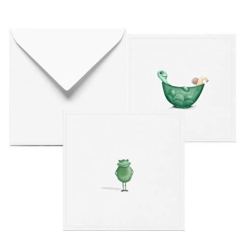 Glückwunschkarte zur Geburtstag | 2 Set Grußkarten mit Frosch und Schildkröte | Karte | Geburtstagskarte | Handmade in Hamburg aus 100% Recyclingpapier