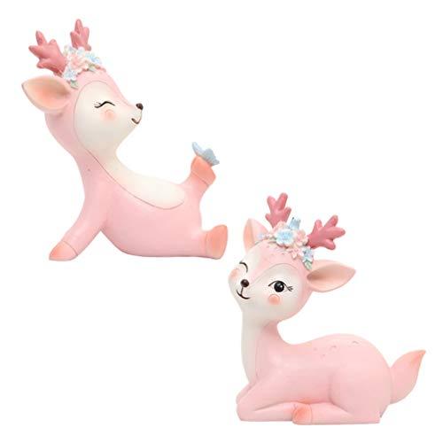 Happyyami 2PCS Deer Figurines Christmas Miniature Fairy Garden Reindeer Elk Miniature Ornaments 3D Resin Deer Statue Forest Animals (Random Style)