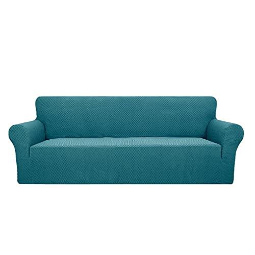 Fodera per divano elasticizzata spessa, jacquard quadrato lavorato a maglia in tinta unita, fodera per cuscino per divano a copertura totale, adatta per bambini, animali domestici,peacock blue,4 seats