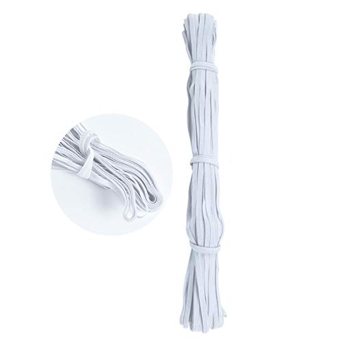 Braided Elastic Bands 36 Yard Length 1/4 Inch Width White Elastic String for Masks Elastic Cord for Masks Quarter Inch Elastic for Sewing Masks Flat Elastic Thread Elastic Rope for Cuff Waistband