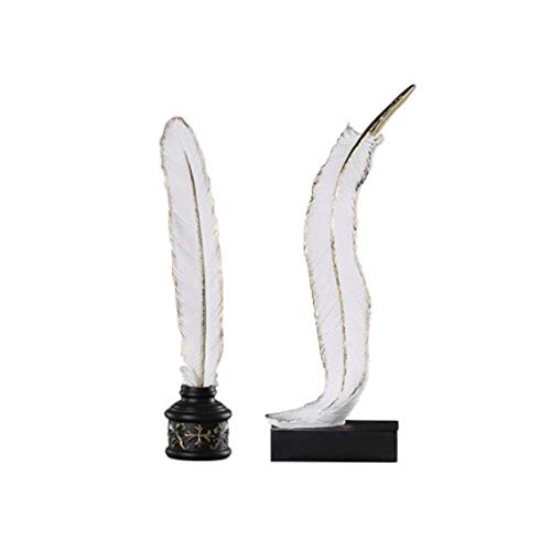 LAMZH Candlestick Feathers Candles Jewelry Crafts Jewelry, A Group Of Candlestick Holders (Color : White, Size : 7.2X35.8cm)