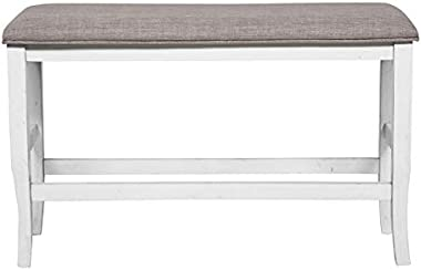 Furniture of America Arriane Wood Counter Height Dining Bench in White
