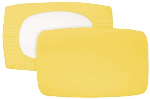 Home Edition 2er Pack Spannbezug für Nackenstützkissen Baumwolljersey (mit Elasthan) 36x50 bis 36x60 cm (Gelb)