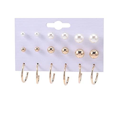 1 pieza de aretes para mujer, pendientes de aro y pendientes de perlas pequeñas