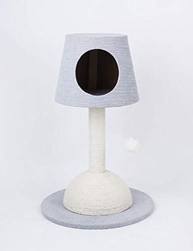 Luxe krabpaal voor katten, chenille-stof Tafellamp Vorm Sisal Krabpaal Torens Activiteitencentrum voor kattenkrabber met bungelende bal/flat