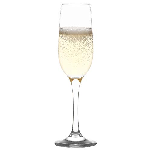 LAV Champagne Flutes Set 6-Piece, Clear Champagne Glasses with Classic Elegant Design 7.25 Oz, Toasting Mimosa Drinking Stemmed Glasses for Sparkling Wine Ideal for Parties, Weddings and Fancy Events