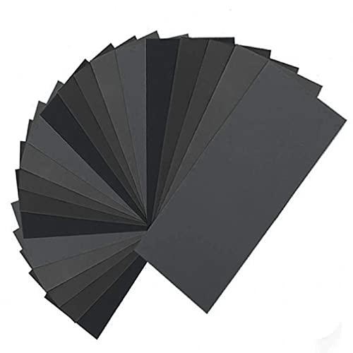 Haowen 45 pezzi da 120 a 5000 Carta vetrata a grana assortita per mobili in Legno finitura nera