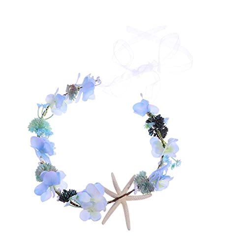 HSJWOSA Protector Guirnalda de Pelo Floral Diadema de Playa Viajes de Flores Nupcial Corona de Pelo Accesorio para el Cabello Compatible con Mujeres niña Novia (Azul) Estirable