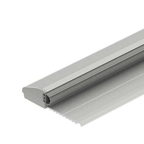 Gedotec Bodenschwelle Aluminium Türbodendichtung Übergangsprofil mit Anschlag | Türschwelle mit Dichtung | Länge 965 mm | Alu silber eloxiert | Baubeschläge | 1 Stück - Türdichtschiene mit Gummi