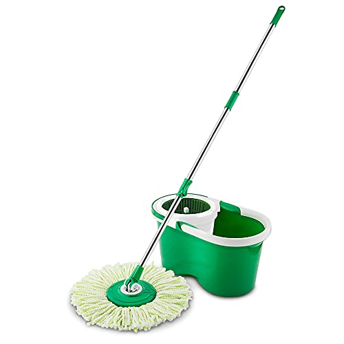 Libman Spin Mop and Bucket – Complete Floor Cleaning System Features a Microfiber Mophead, Adjustable Handle, and Durable Spin Compartment