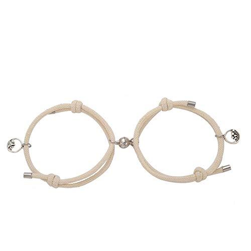 Tusin 2 Paar Magnete ziehen sich gegenseitig an, kreative Persönlichkeit Paar-Armband, Paar-Anhänger, Charm-Armband Schmuck, Liebhaber-Geschenk, 6