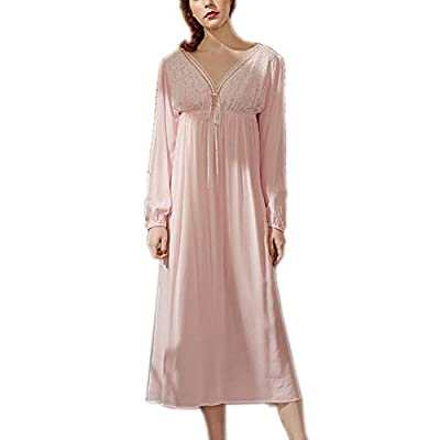 Women's Vintage Lace V Neck Nightgown Cotton Sleepwear Long Sleeve Nightdress Sleepshirt Pajamas
