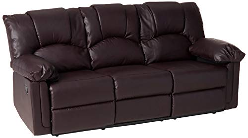 poundex Espresso Bonded Leather Reclining Motion Sofa, Brown