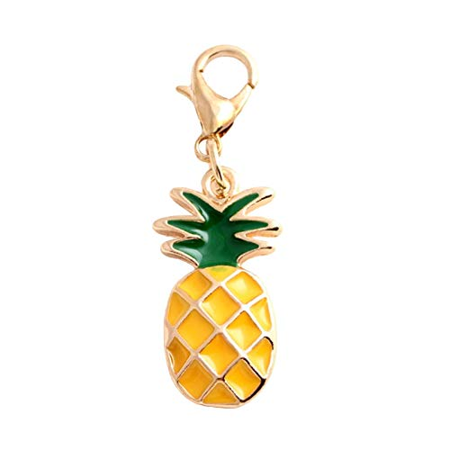 FSJIANGYUE Keychain Fashion Enamel Pineapple Fruit Pendant Keychain Charms Clasp Key Ring Car Keychains for Women Key Chain Bag Pendant Accessories (Color : -)