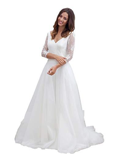 CoCogirls Een lijn Bohemien strand bruiloft jurken lange mouwen sexy bruid V-hals jurk open rug vrij van de rug vloer lang tule vintage kant bruidsjurken bruiloft jurk