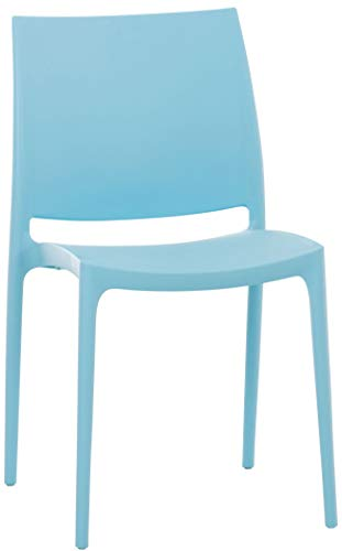 CLP Sedia Giardino Maya Impilabile in Polipropilene I Sedia Bistrot Bar Idrorepellente Resistente Ai Raggi UV I Sedia Outdoor Plast, Colore:Azzurro