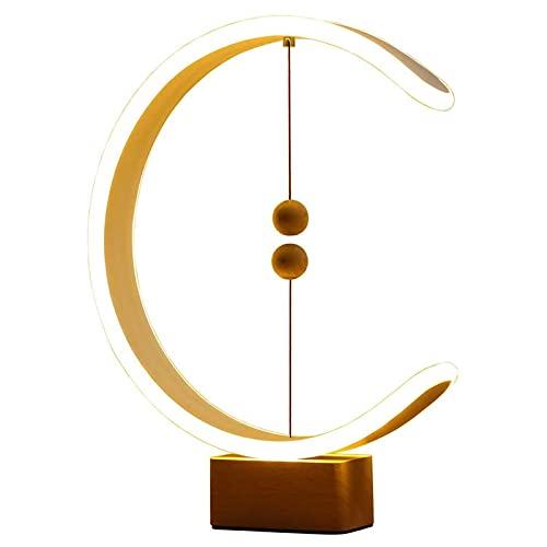 Lámpara de Mesa de Forma de C, Lámpara De Equilibrio Heng Alimentada por USB con Interruptor De Bolas Flotantes Magnéticas, Luz LED De Cuidado Ocular Cálido, Lámpara De Noche De Dormitorio