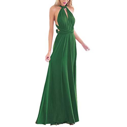 OBEEII Abito Donna Lungo Elegante Senza Maniche Sexy Multi Way Bandage Dress Vestito da Cerimonia Matrimonio Sposa Damigella d'Onore Sera Cocktail Prom Verde XS